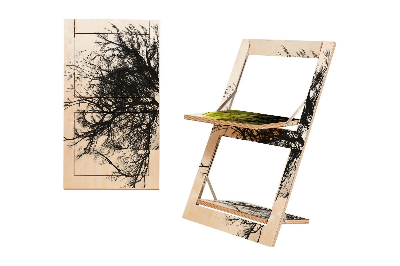 Fläpps Folding Chair Baum/Baum Gelb