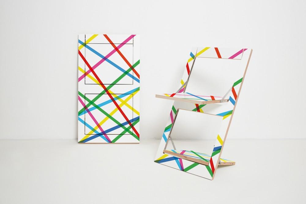 Fläpps Folding Chair Bunte Linien (print on both sides)