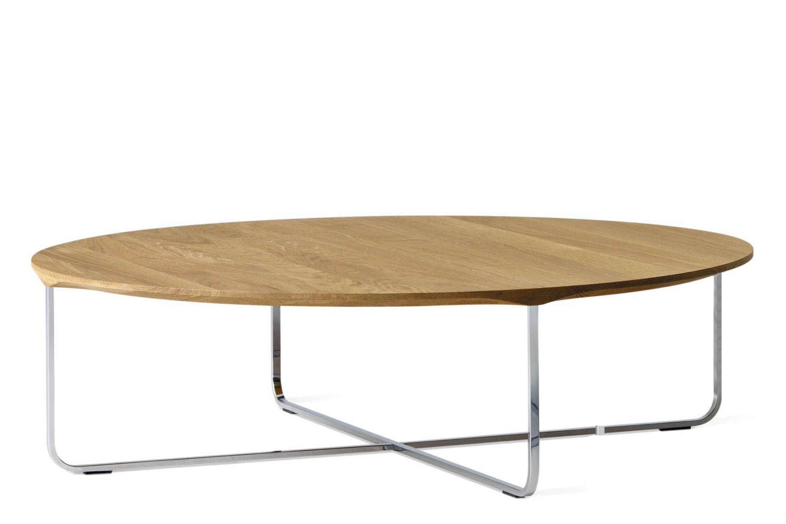 Flint Round Coffee Table White Oil Oak, Large
