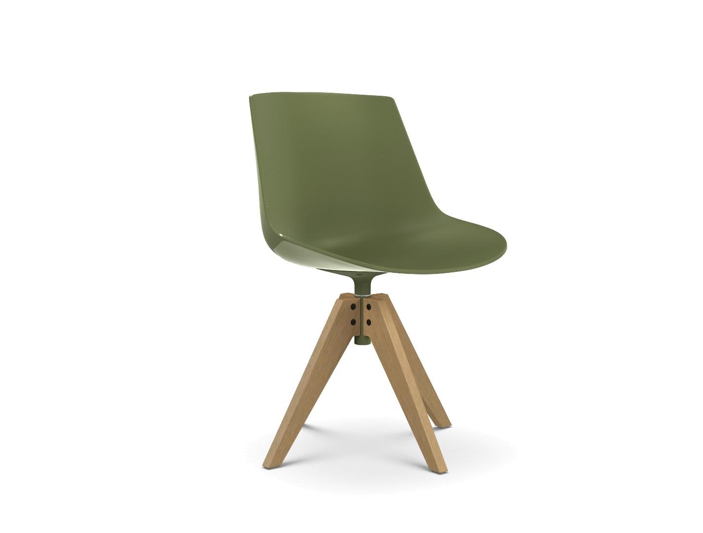 Flow Chair, VN 4 Legs Oak, Soft Touch Green, Natural Oak