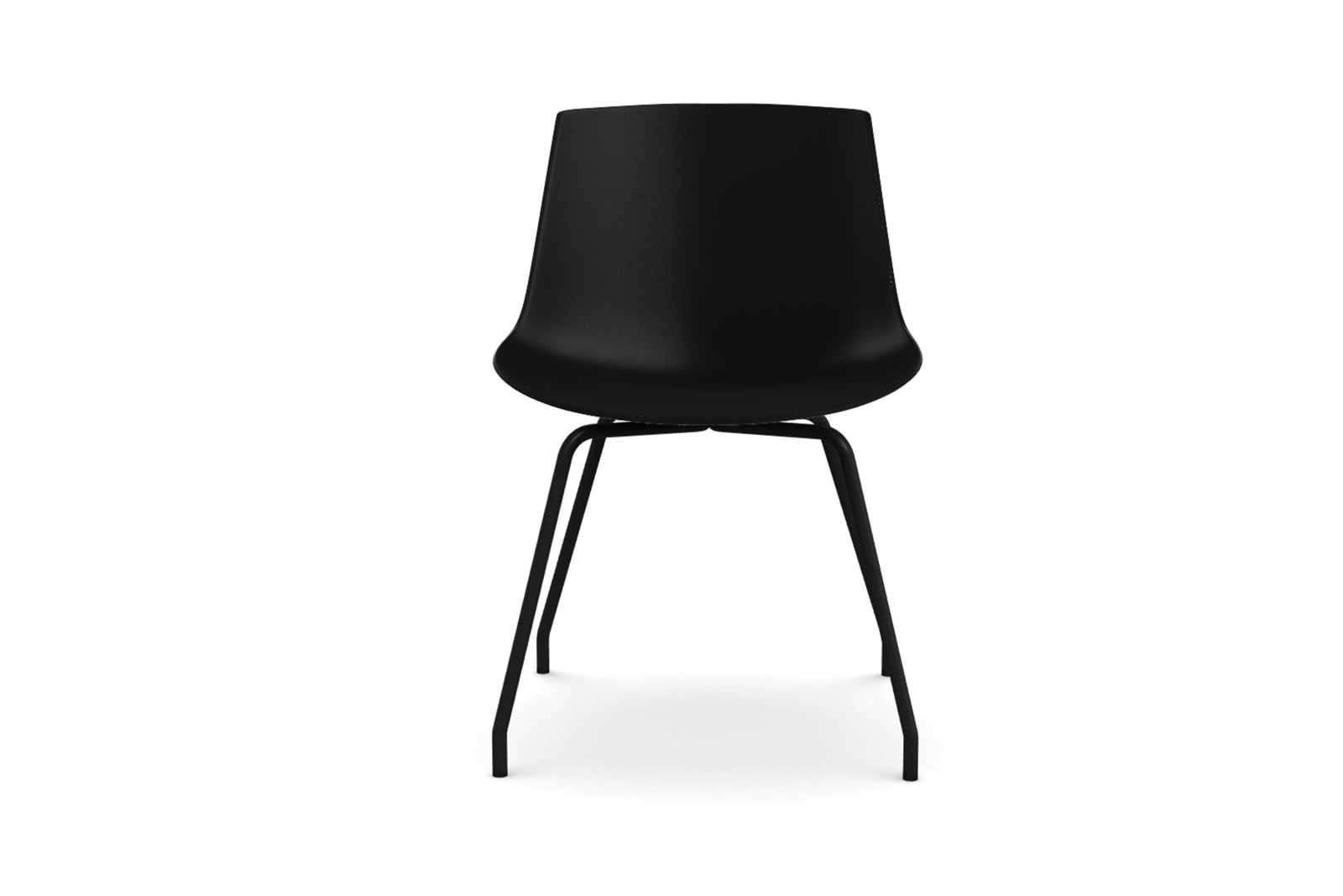Flow Dining Chair, 4 Legs Base - Set of 2 Black Shell & Graphite Grey Frame