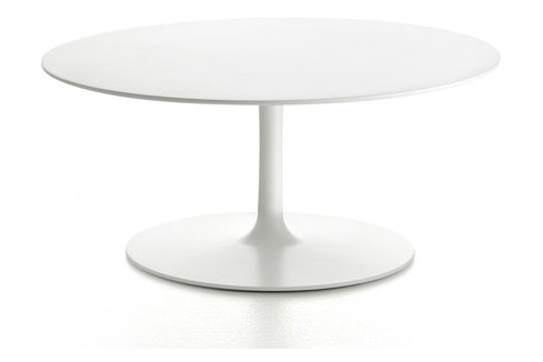 Flow Low Table Cristalplant White Top & Matt White Frame, 60cm