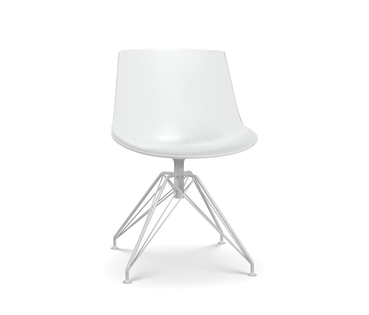 Flow Chair, LEM 4 Legged Base White Shell & Matt White Frame
