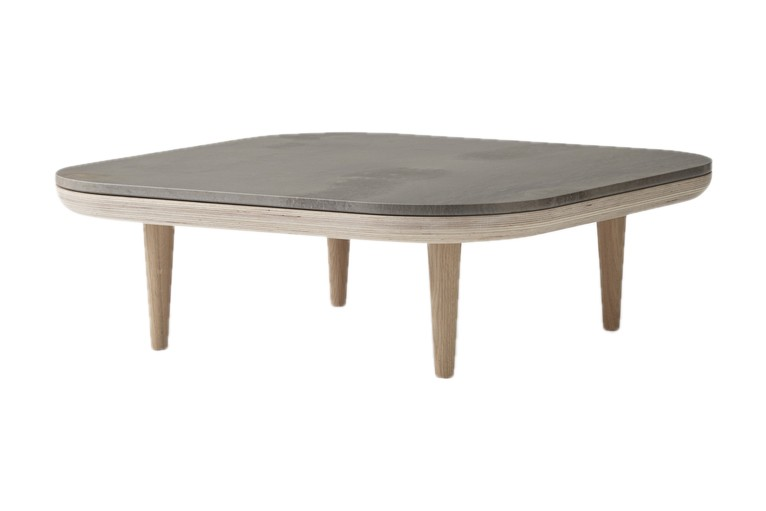 Fly SC4 Coffee Table White oiled oak base with honed Pietra di Fossena marble