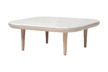 Fly SC4 Coffee Table White oiled oak base with honed Bianco Carrara marble