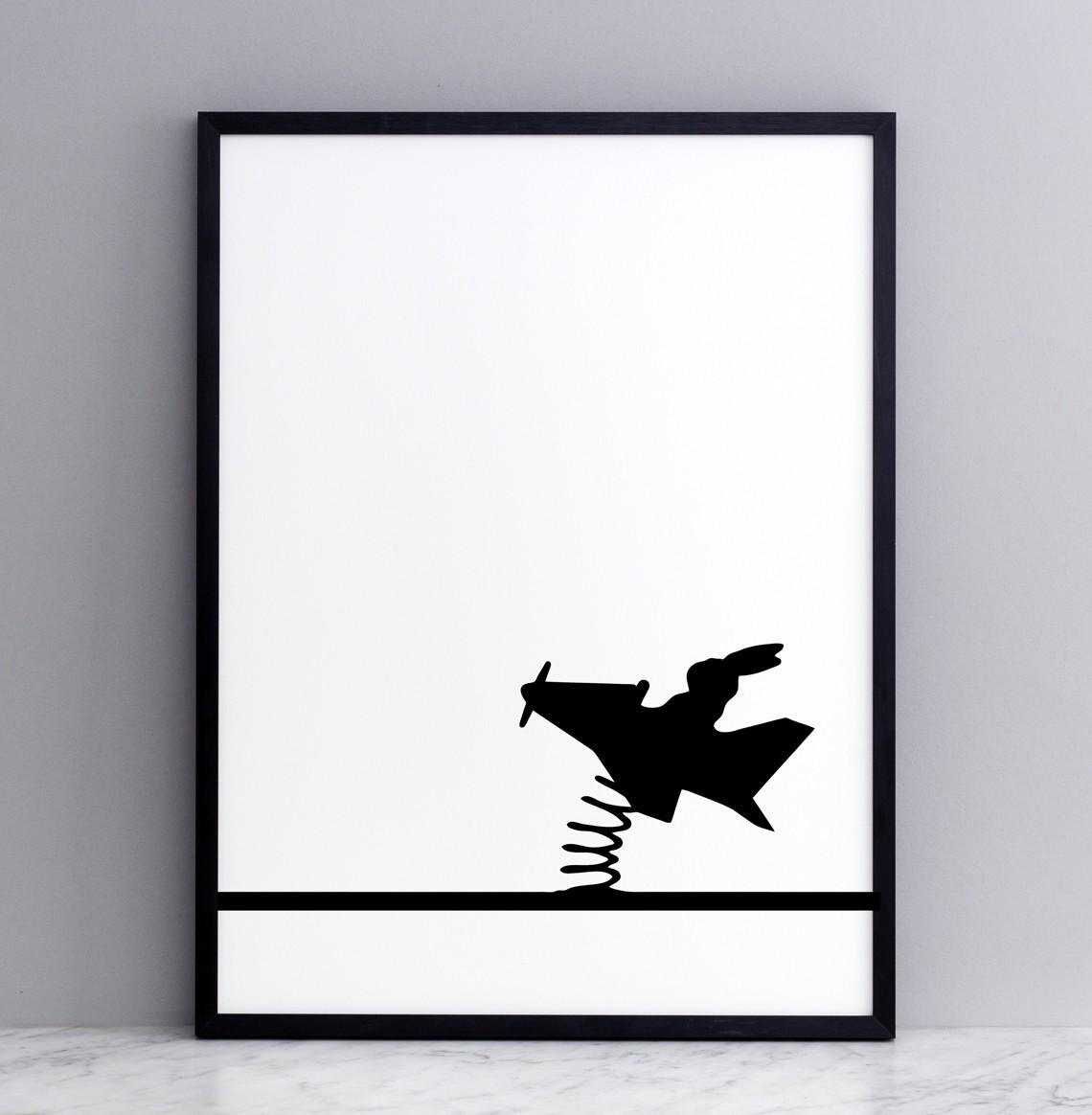 Flying Rabbit Screen Print Small