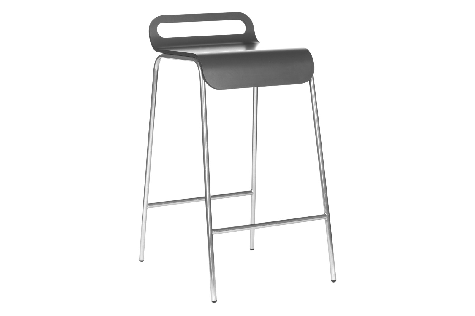 Form Bar Stool 77cm, Chrome, Black Formica