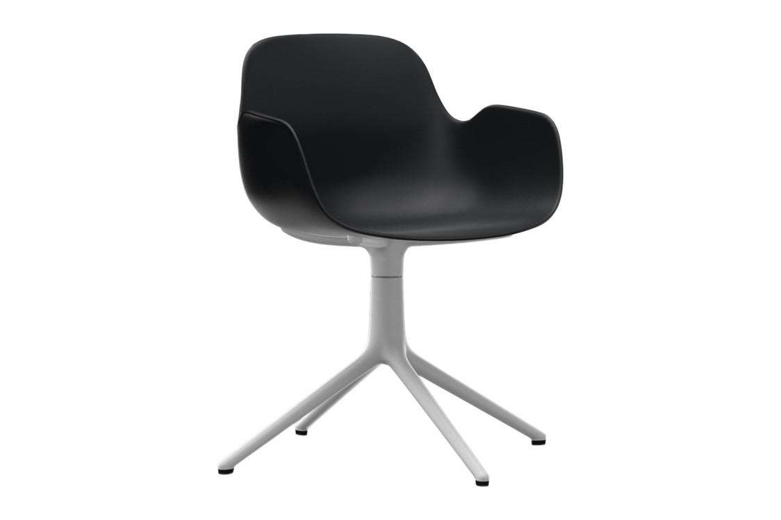 Form Swivel Armchair 4L Black, NC White Aluminium