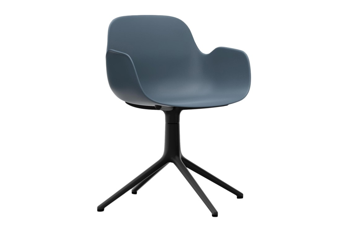 Form Swivel Armchair 4L Blue, NC Black Aluminium