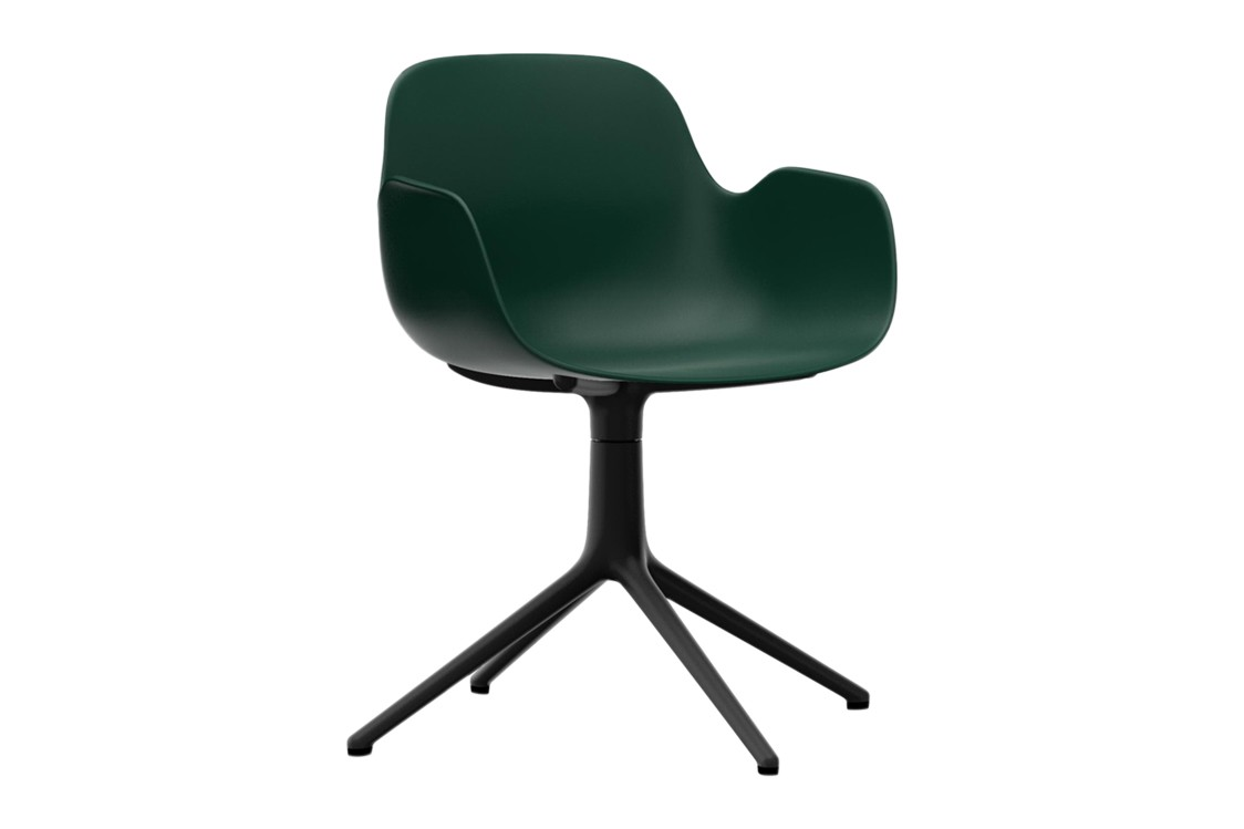 Form Swivel Armchair 4L Green, NC Black Aluminium