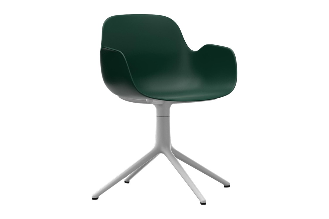 Form Swivel Armchair 4L Green, NC White Aluminium