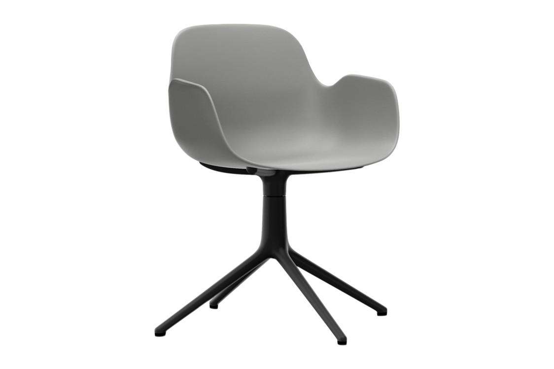 Form Swivel Armchair 4L Grey, NC Black Aluminium