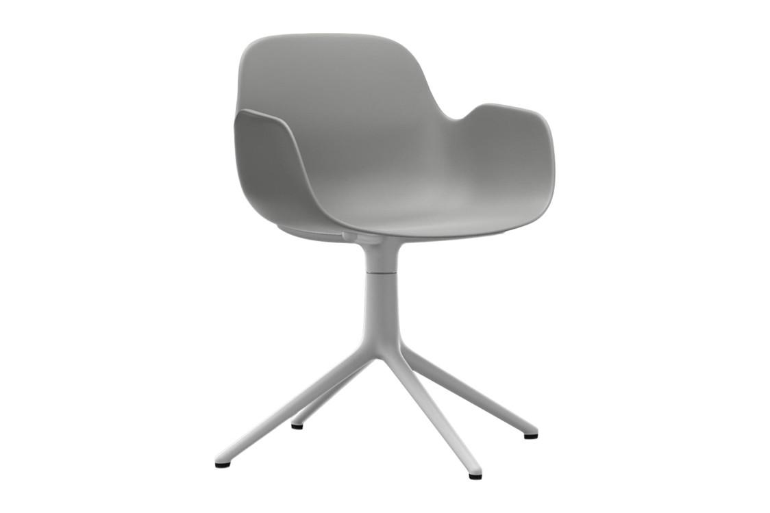 Form Swivel Armchair 4L Grey, NC White Aluminium