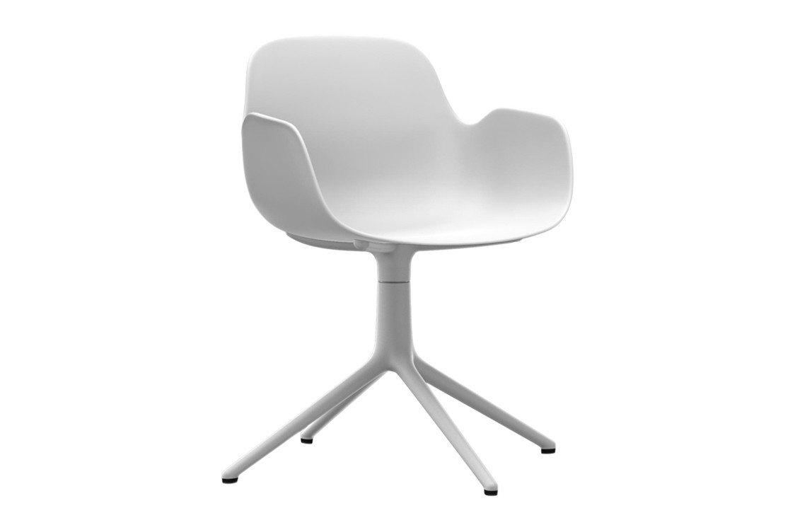 Form Swivel Armchair 4L White, NC White Aluminium