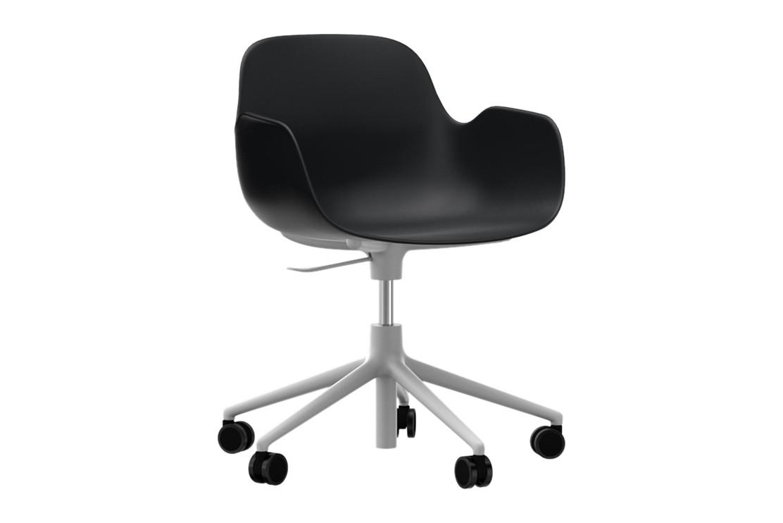 Form Swivel Armchair 5W Gaslift Black, NC White Aluminium