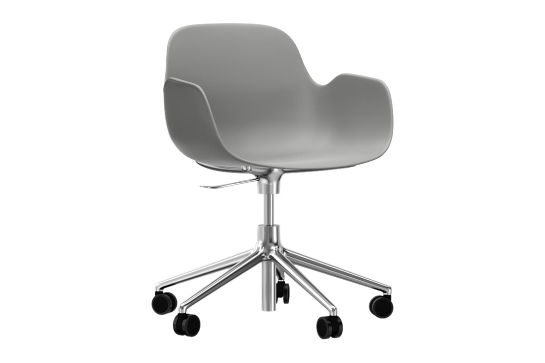 Form Swivel Armchair 5W Gaslift Grey, NC Aluminium