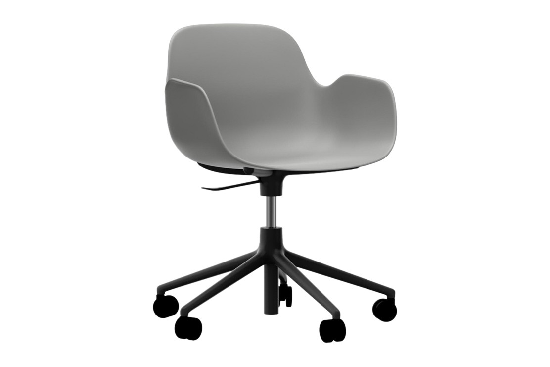 Form Swivel Armchair 5W Gaslift Grey, NC Black Aluminium