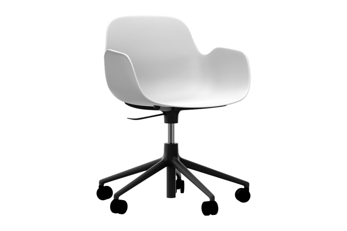 Form Swivel Armchair 5W Gaslift White, NC Black Aluminium