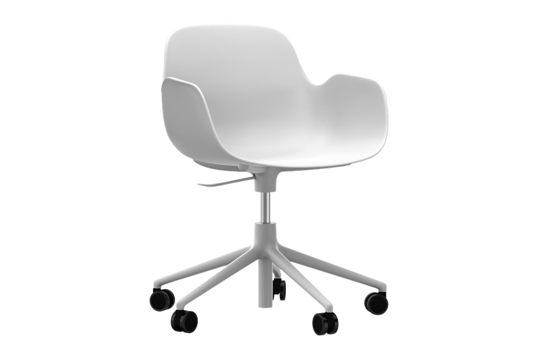 Form Swivel Armchair 5W Gaslift White, NC White Aluminium