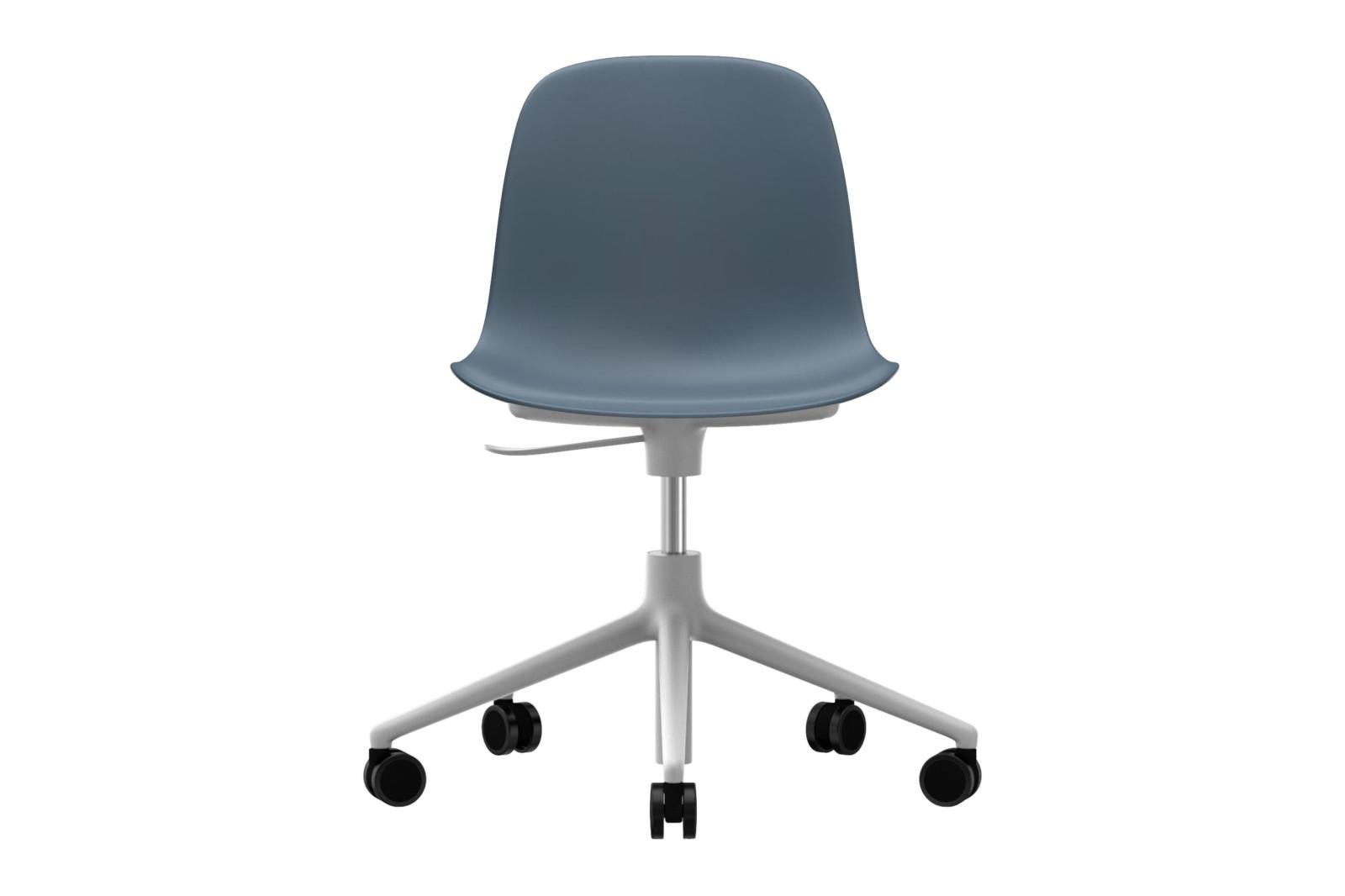 Form Swivel Chair 5W Gaslift NC White Aluminium, Blue