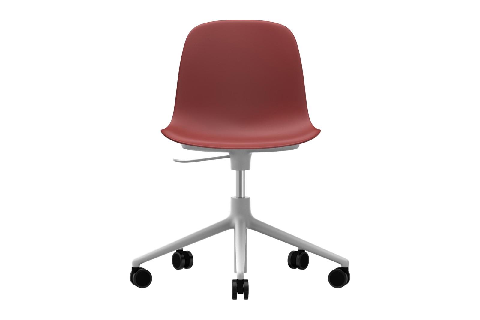 Form Swivel Chair 5W Gaslift NC White Aluminium, Red
