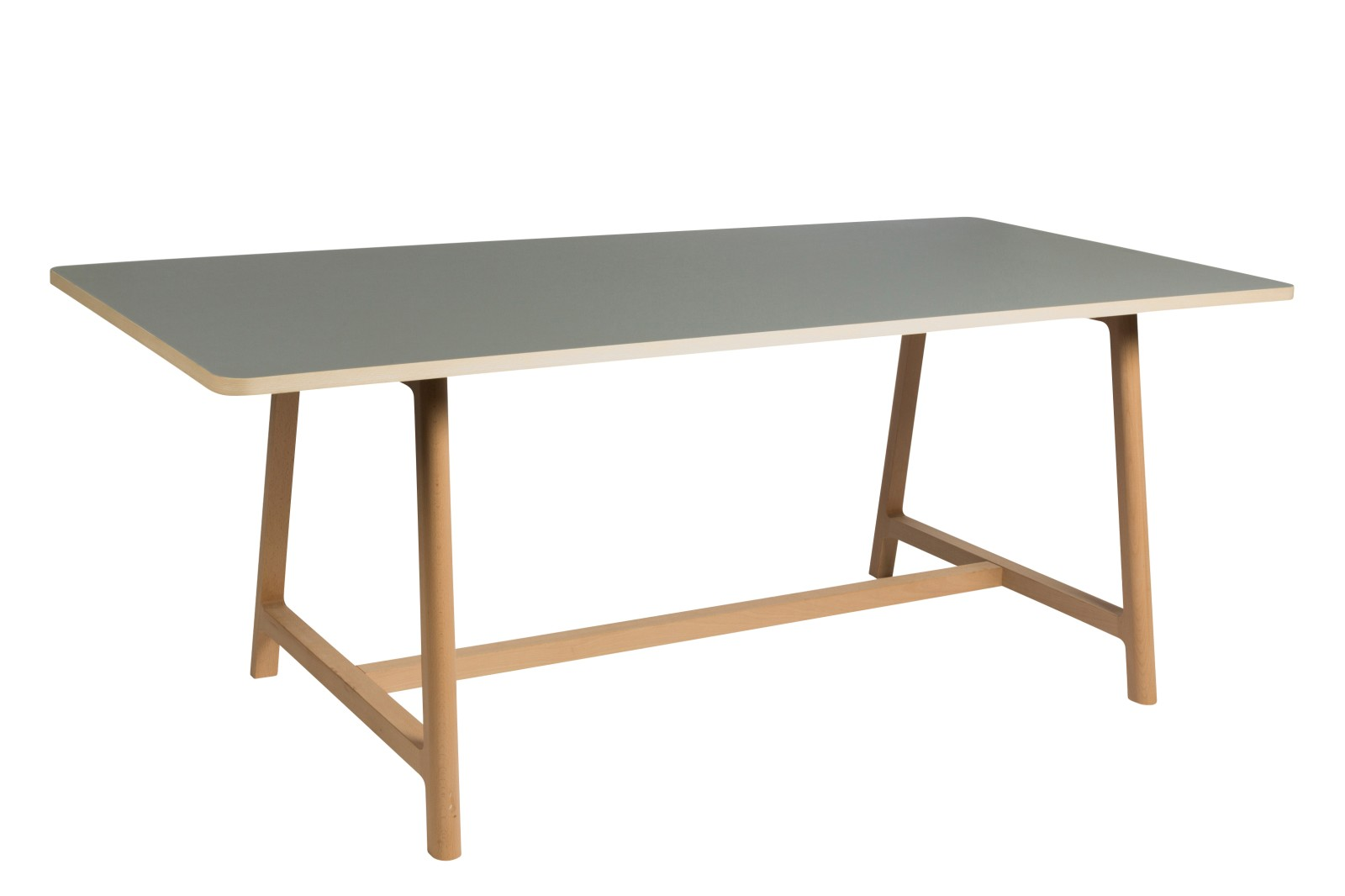 Frame Dining Table Matt Lacquered Beech, Grey Top, Small