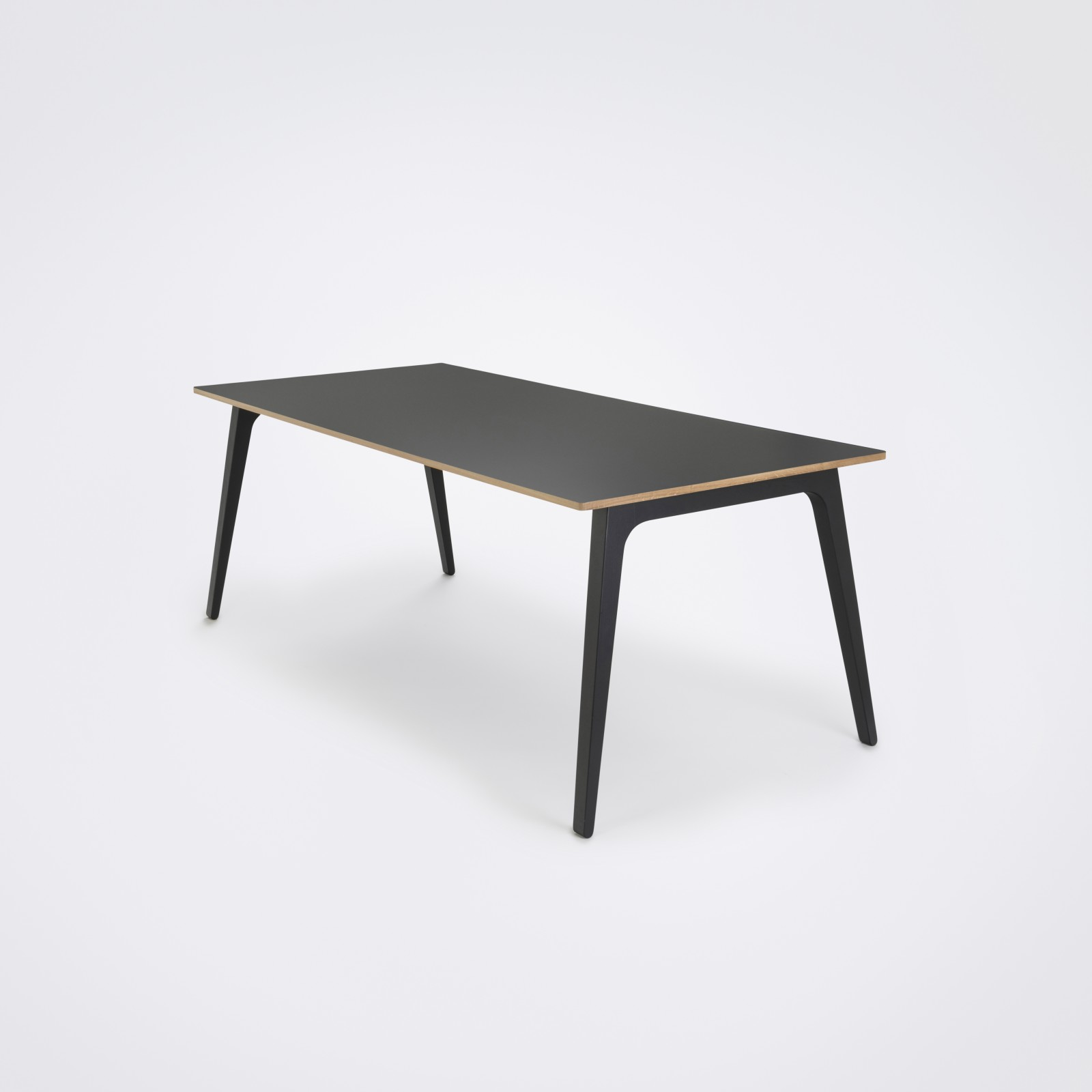 Gate Dining Table Black Linoleum, Black Stained Solid Oak, 205cm