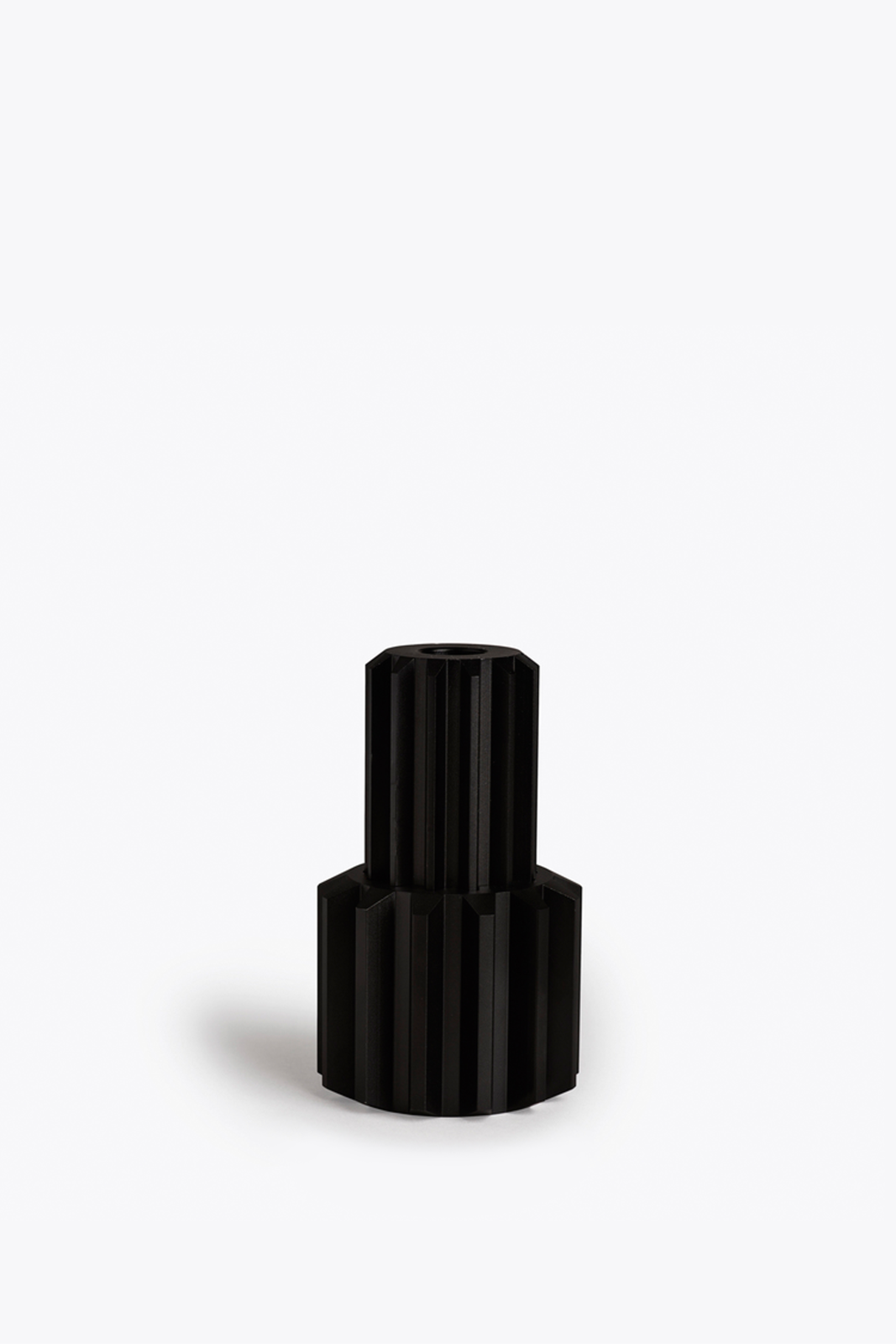 Gear Candle Holder Graphite Black Anodized Aluminium, Tall