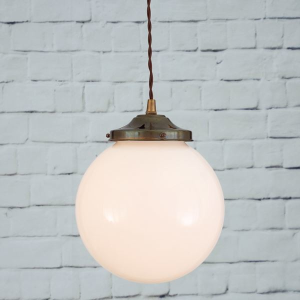 Gentry 20cm Opal Globe Pendant Light Antique Brass