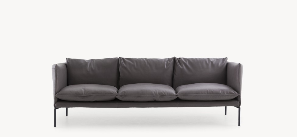 Gentry Extra Light - Sofa 3 seater B0035 - Leather Neon - T, Stainless Steel thumbnail