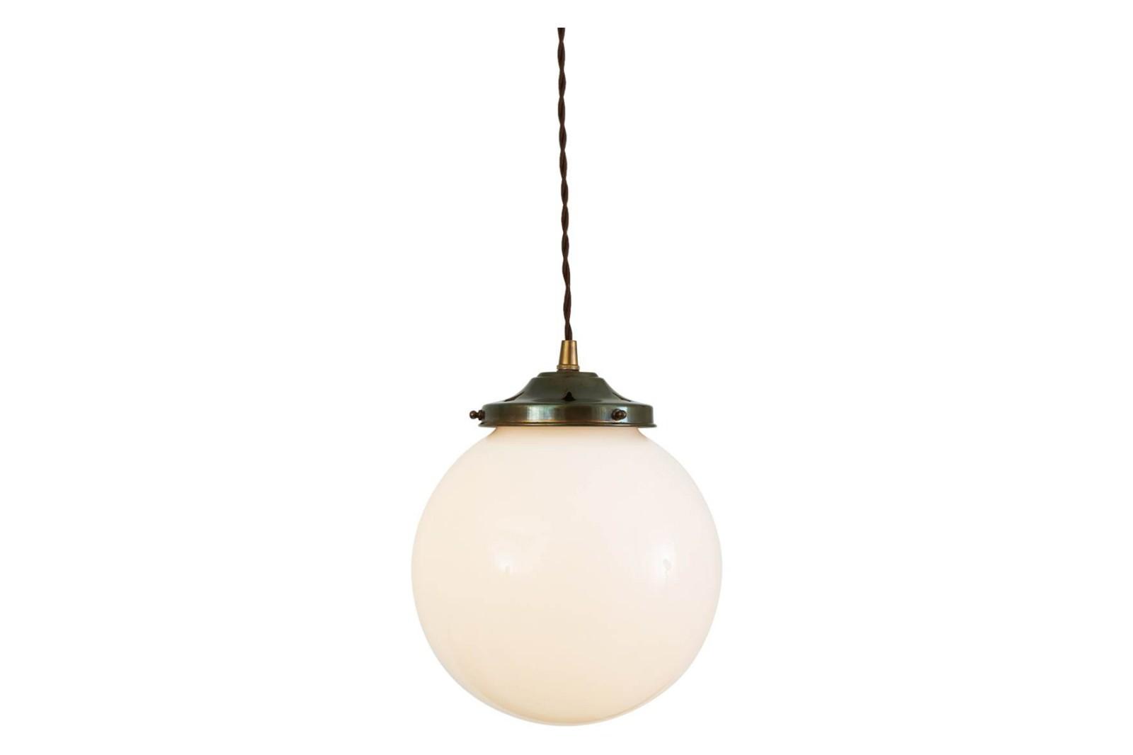 Gentry Opal Globe Pendant Light, 20cm Antique Brass