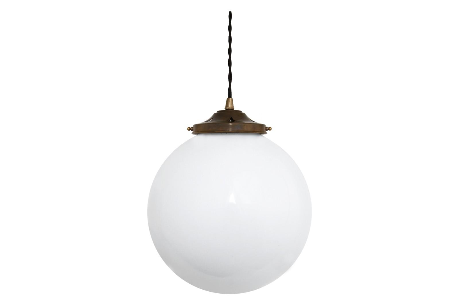 Gentry Opal Globe Pendant Light, 30cm Antique Brass