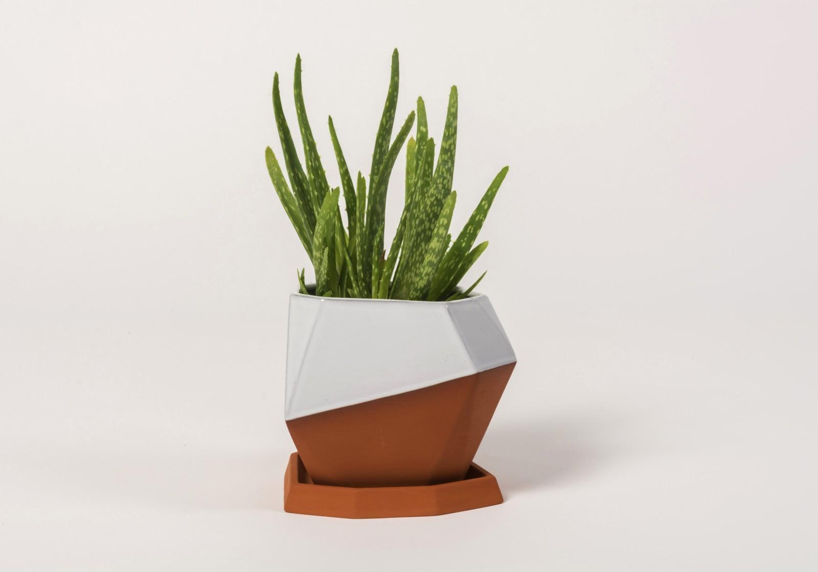 Geometric Terracota Pot Half Glazed