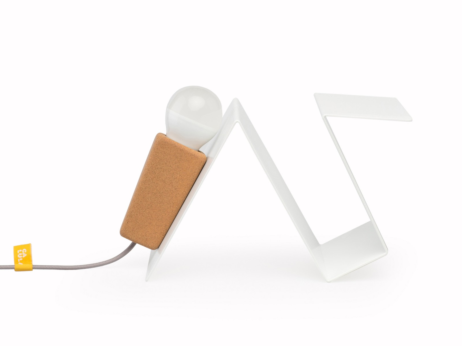 Glint #3 Desk Lamp White with Grey Cable