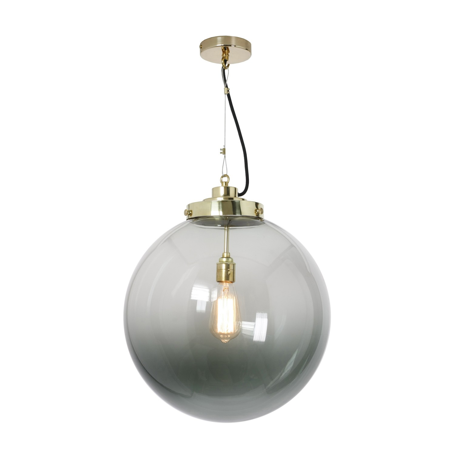 Globe Pendant Light Anthracite and Brass, Large