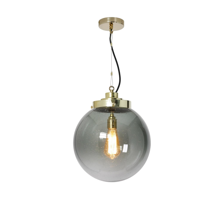 Globe Pendant Light Anthracite and Brass, Medium