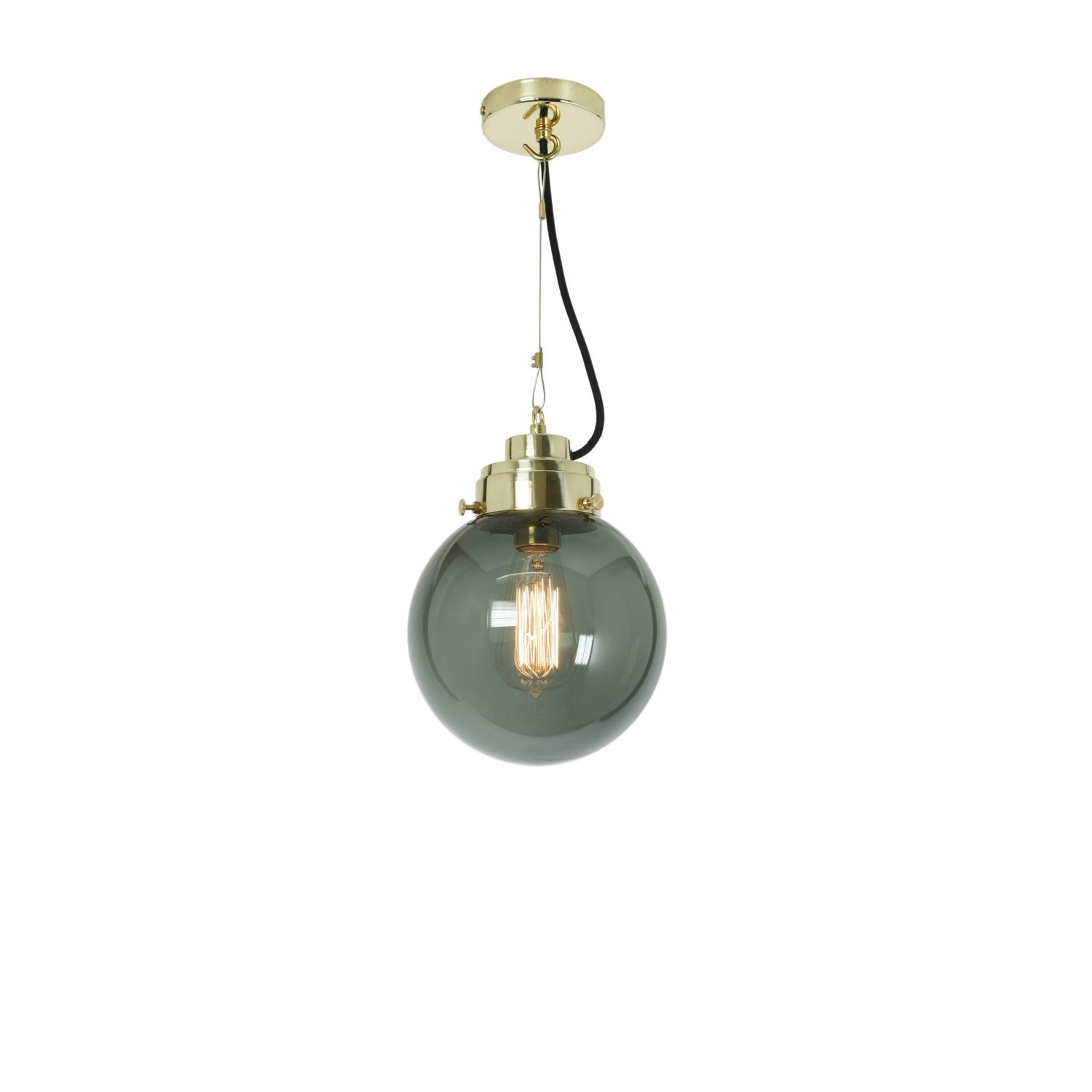 Globe Pendant Light Anthracite and Brass, Small