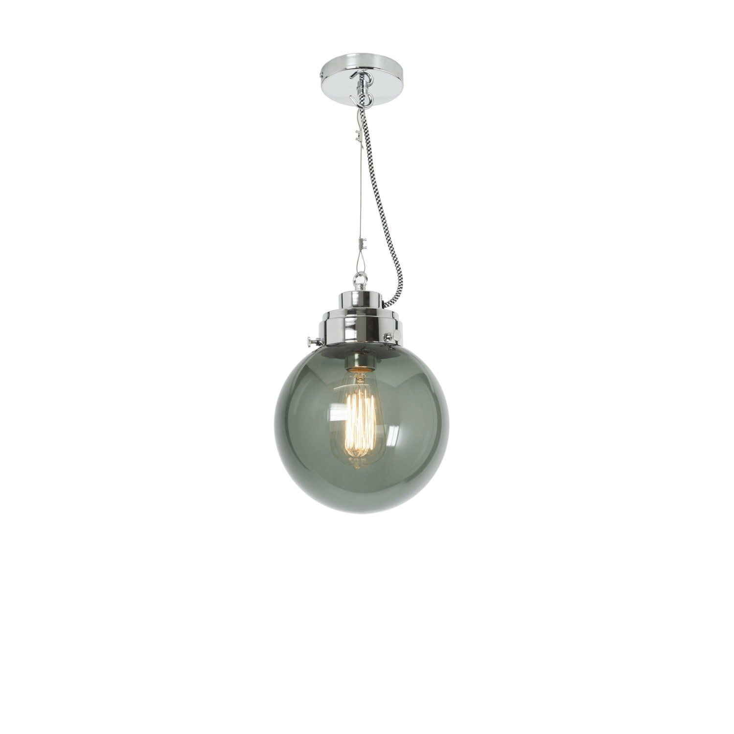Globe Pendant Light Anthracite and Chrome, Small