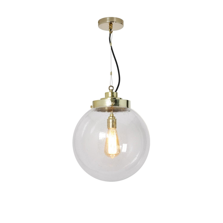 Globe Pendant Light Clear Seedy and Brass, Medium
