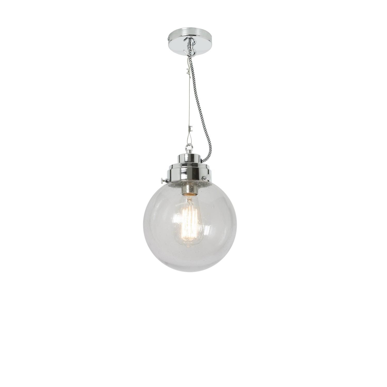 Globe Pendant Light Clear Seedy and Chrome, Small