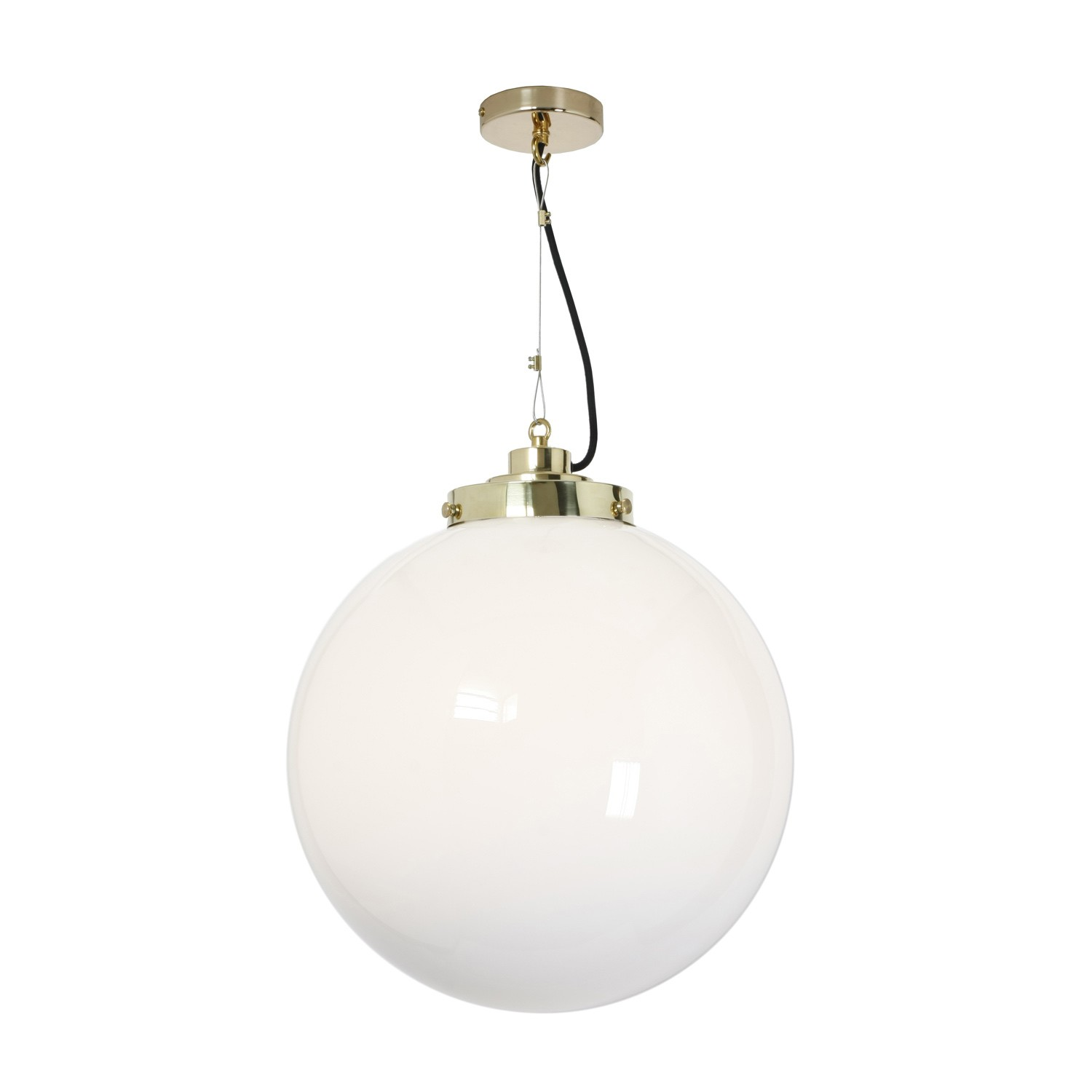 Globe Pendant Light Opal and Brass, Large