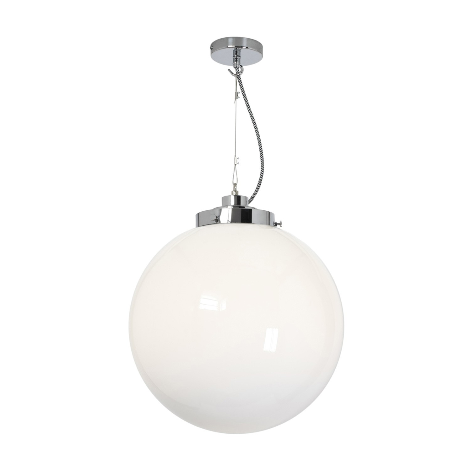 Globe Pendant Light Opal and Chrome, Large