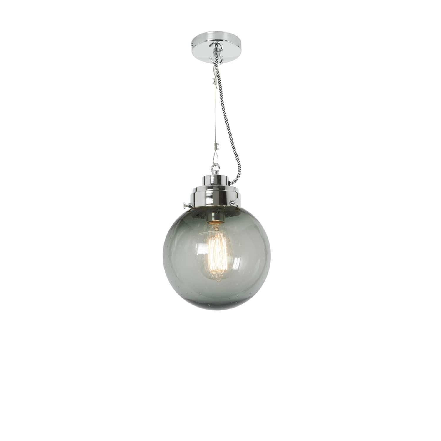Globe Pendant Light Seedy Anthracite and Chrome, Small