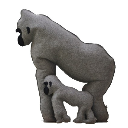 Gorilla Cushions Set of 2, Grey
