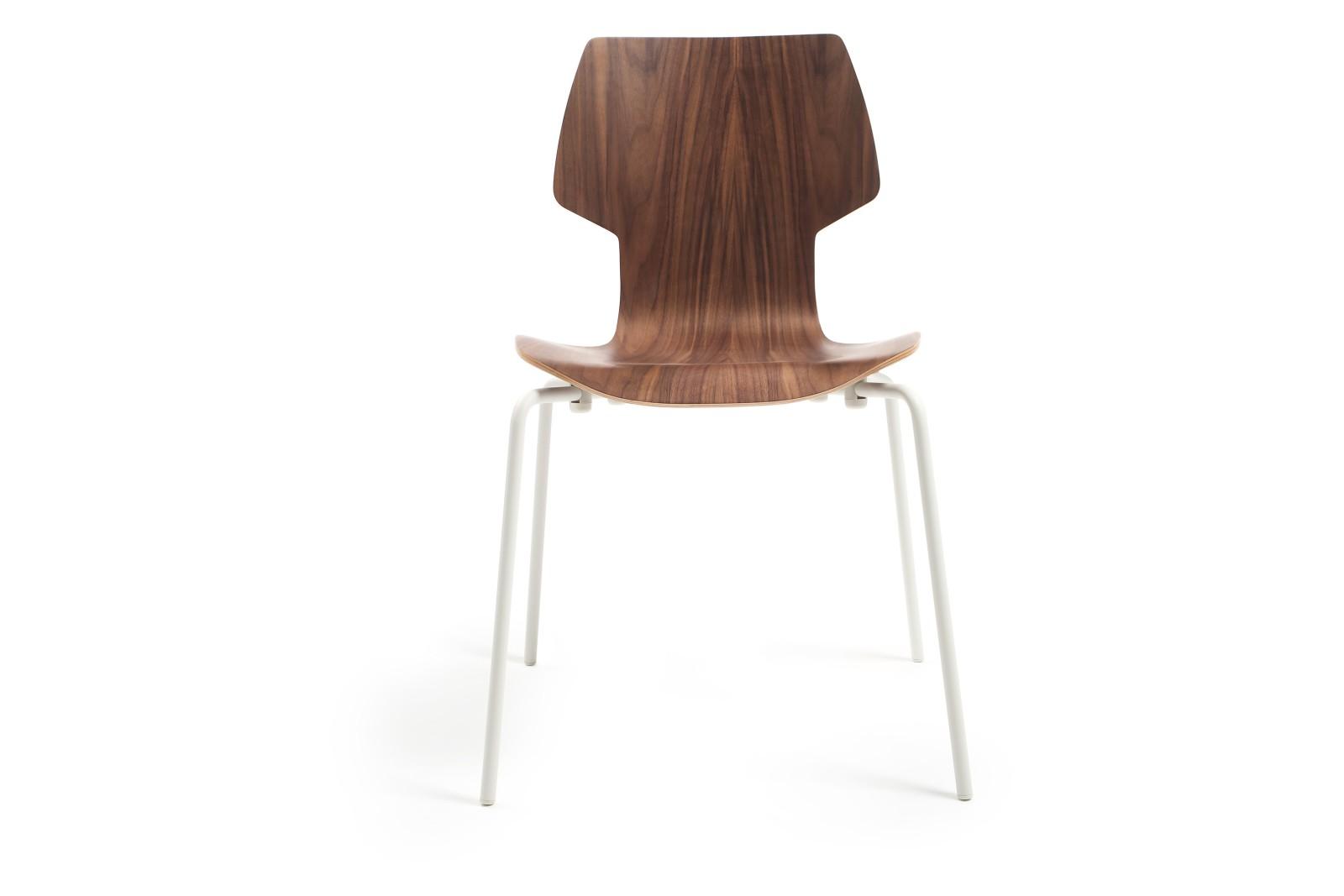 Gràcia Dining Chair Walnut Plywood, White