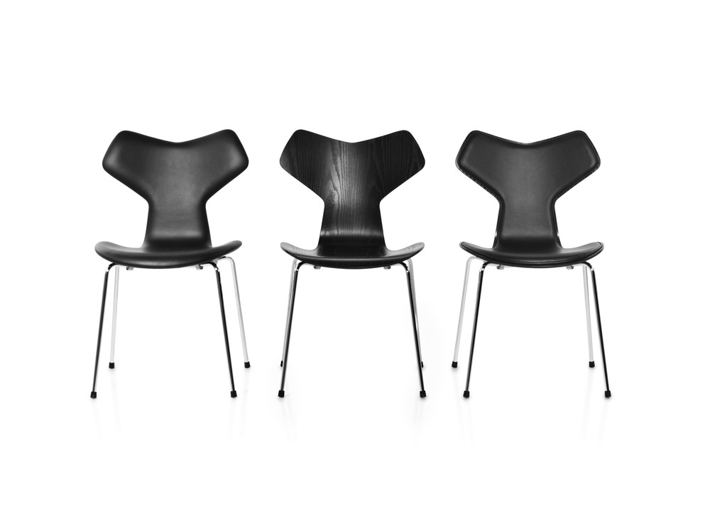 Grand Prix Fully Upholstered Stackable Chair Soft Leather Black
