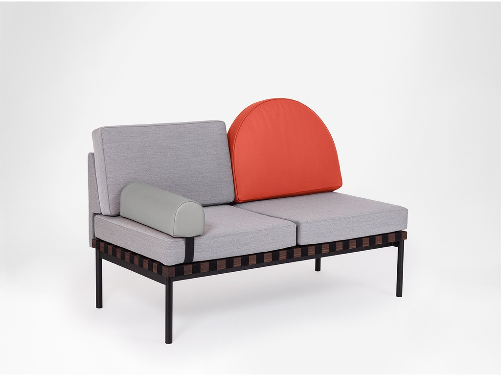 Grid - 2 Seater Sofa, With Round Cushion and Headrest - Without Armrests Canvas 124, Leather, Leather, Oak thumbnail