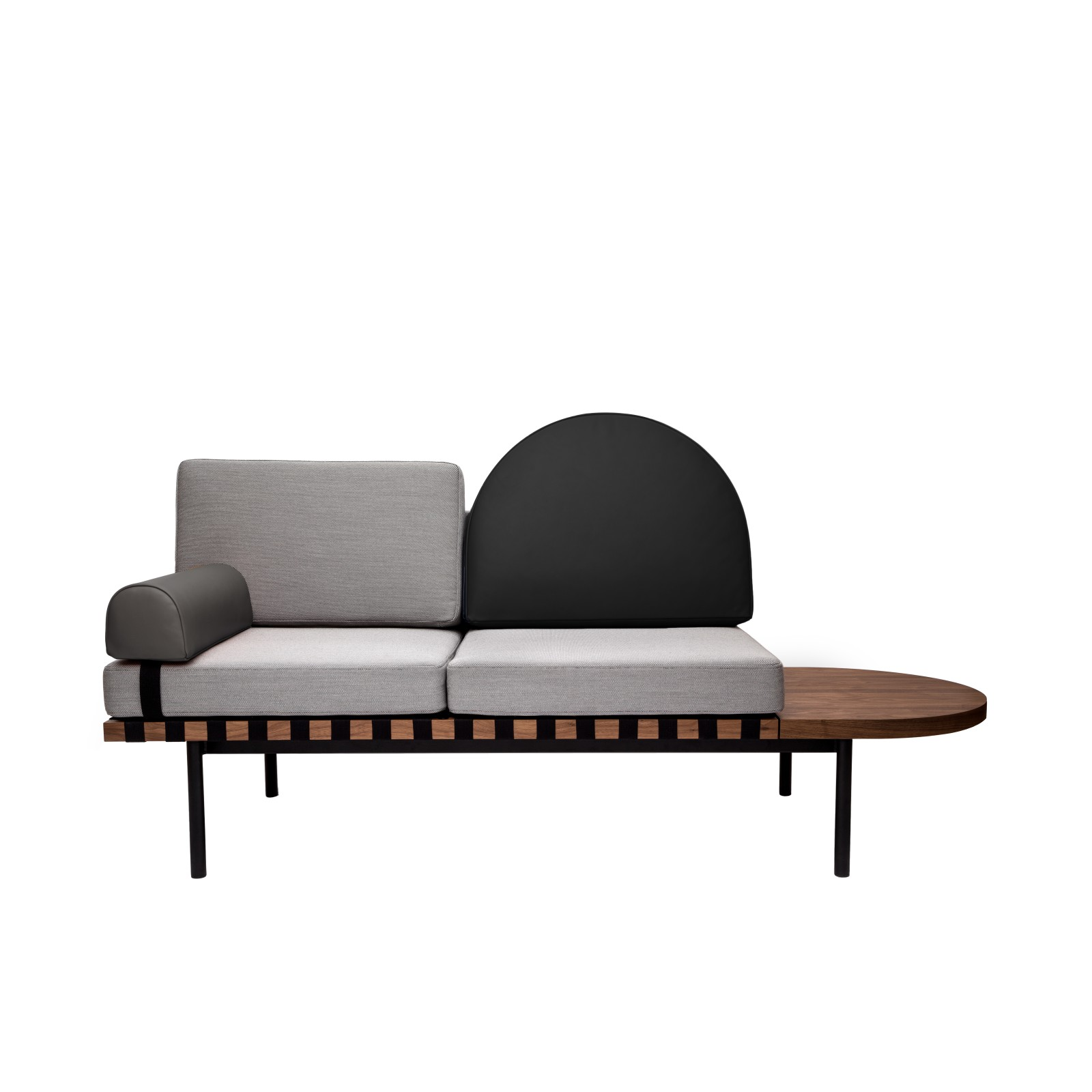 Grid Daybed Steelcut Trio 2 133, Black leather, Grey leather