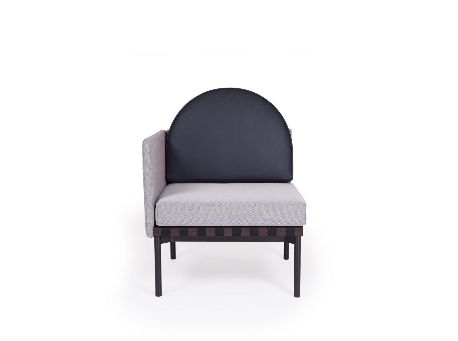 Grid Round Back Left Corner Armchair Steelcut Trio 2 144, Dark blue leather