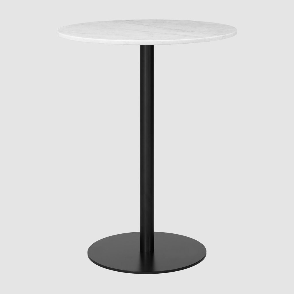 Gubi 1.0 Round Bar Table 080, Gubi Metal Black, Gubi Marble Bianco Carrara